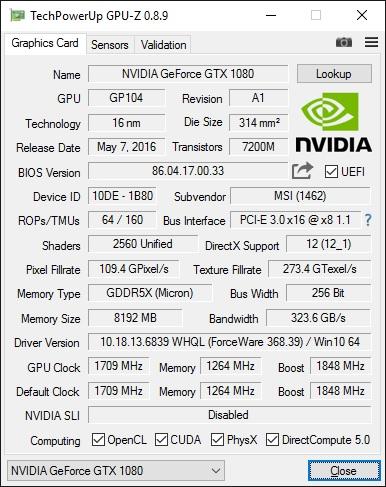 MSI GeForce GTX 1080 Gaming X 8G GPU-Z