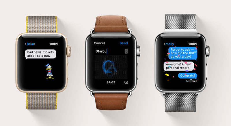 watchOS 3 adds lots of new features to Apple's smartwatches. For example, the Messages is more full featured and allows users to use quick responses using Tapback or even send handwritten messages.