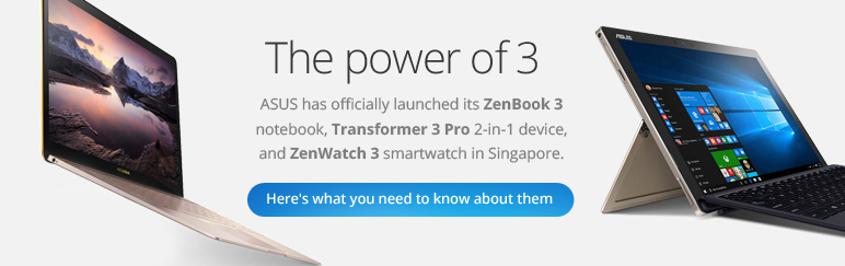 ASUS launches ZenBook 3, Transformer 3 Pro, ZenWatch 3
