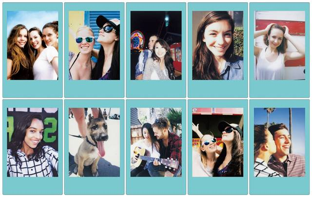A preview of the new sky blue-bordered Instax Mini film.