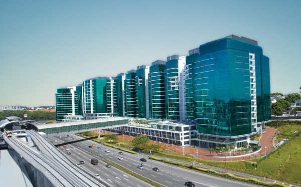 This is the UOA Business Park, which is located along the Federal Highway (or directly opposite the Subang Jaya KTM station).