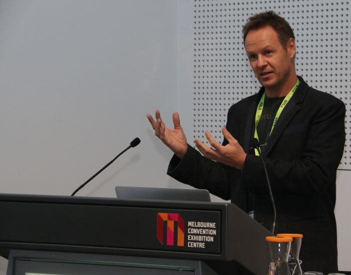Dr. Mark Sagar, Director of the Lab for Animate Technologies at the University of Auckland, New Zealand, giving a talk about his project, BabyX.