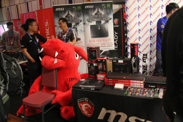 MSI has a booth here with its iconic red dragon...