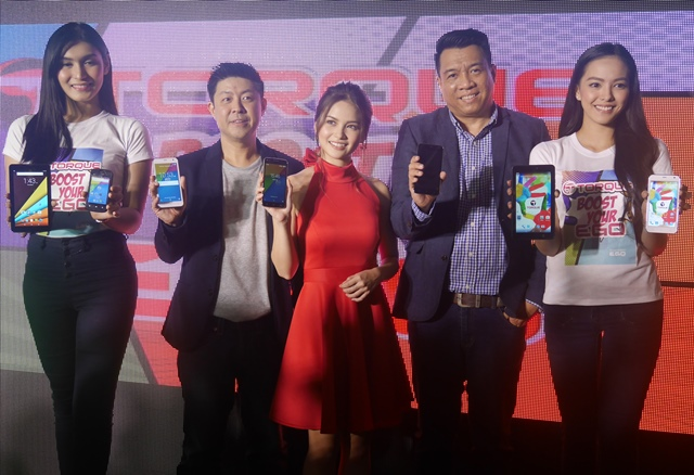 At the middle is Torque's President and CEO, Christopher Uyco; Torque's Brand Ambassador, Elisse Joson; and Torque's Sales Head, Ian Garcia.