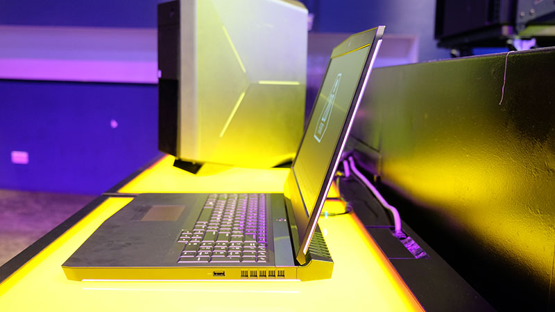 """A look at the """"hinge-forward"""" design on the Alienware 17."""