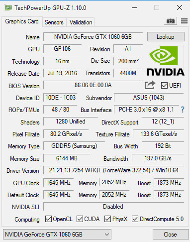 Here's a quick look at the card's specifications in OC mode.