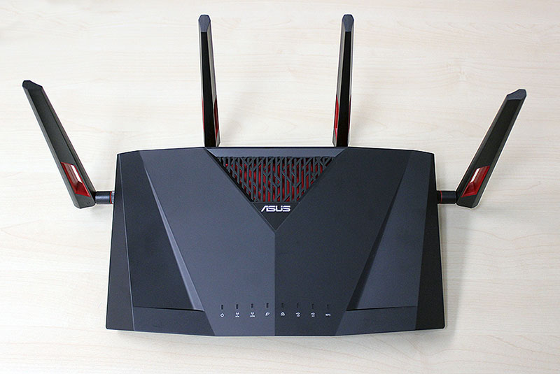 The ASUS RT-AC88U's design marks it out as an ASUS router.