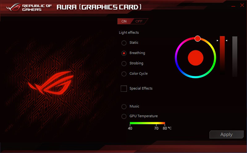 The Aura lighting control software allows you to choose between different colors and lighting effects.