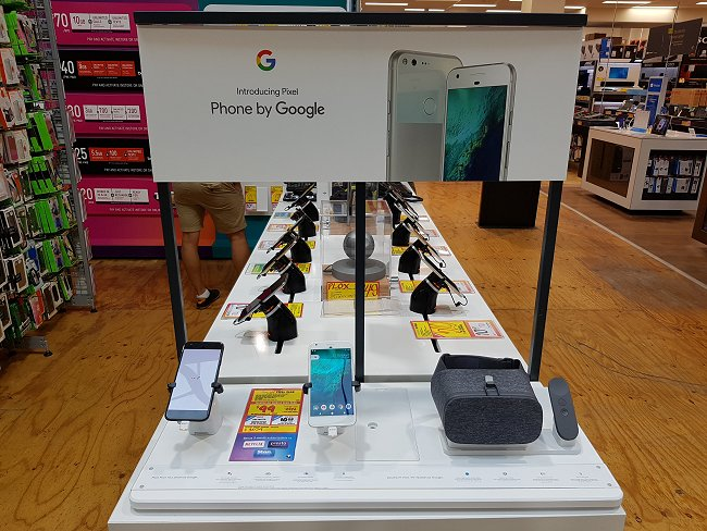Google Pixel phones are more readily seen in JB Hi-Fi, a retail chain in Australia.