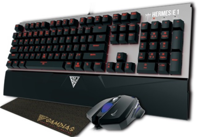 The Hermes E1 Combo includes the Hermes E1 mechanical keyboard, Demeter E2 Optical mouse and NYX E1 mouse pad.