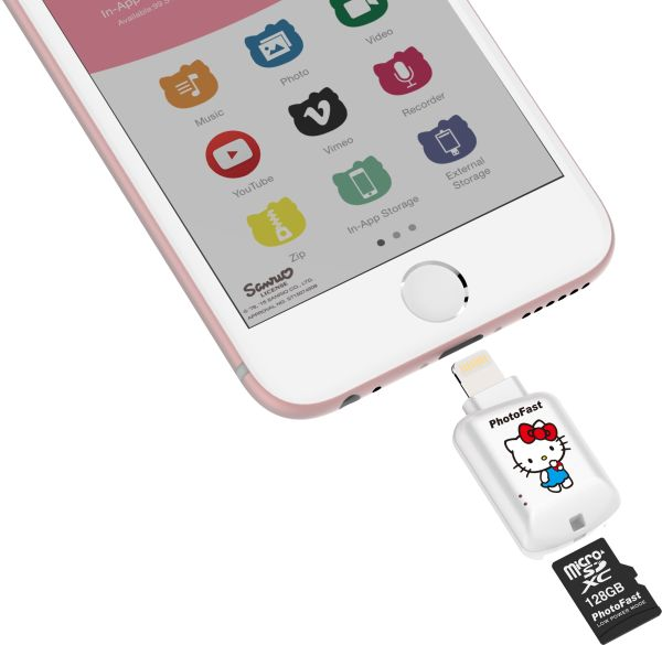 The CR8800 Hello Kitty allows you to connect a microSD card to your iOS device and conveniently transfer files to the card, without the need or a computer. <br> Image source: PhotoFast