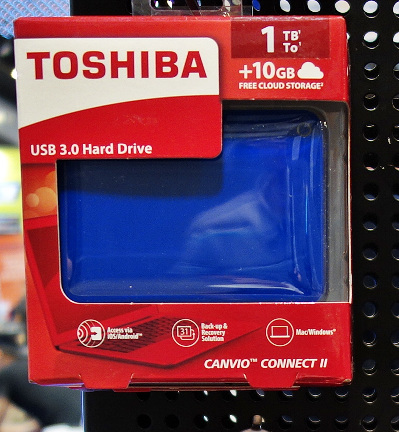 The Toshiba Canvio Connect II comes in four colors with prices beginning at $85 (U.P. $109) for the 1TB drive. The 2TB model is priced at $129 (U.P. $169); however, the 3TB version isn't on sale at the show. The drives come with a free carry pouch, and ship with Pogoplug personal cloud software, offering 10GB of online storage capacity.