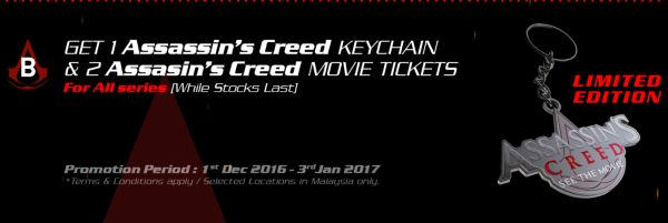 Purchase any MSI gaming notebook for an Assassin's Creed keychain and two tickets to the movie (while stocks last).