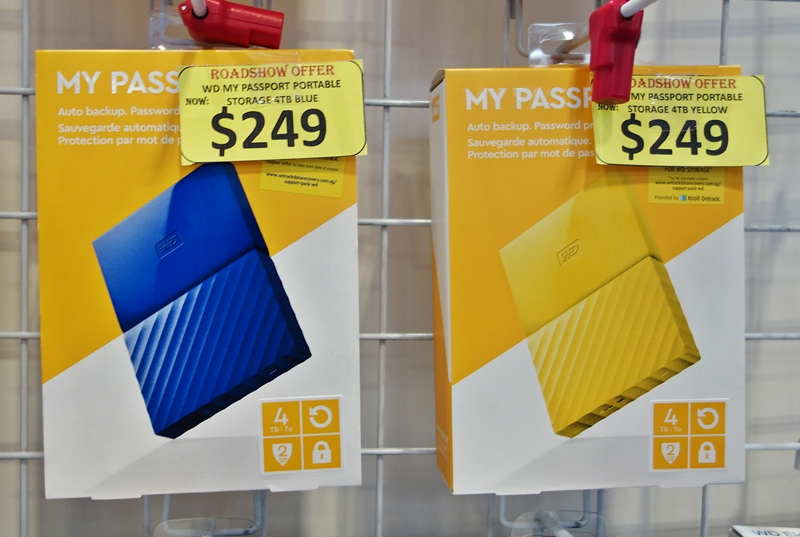 The WD My Passport portable HDDs have been given a new look, and they come in six exciting colors. They are available in the following storage capacities; 1TB ($99, UP: $149), 2TB ($159, UP: $239), and 4TB ($249, UP: $299). Each drive is back by a 2-year limited warranty, and is bundled with a free carrying pouch.