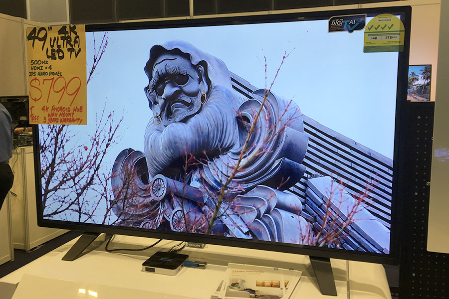 This model is simply the smaller 49-inch version of the Philips PUT5801/98 shown above. It comes with the same freebies, but you only pay $799 for this 49-inch 4K model.