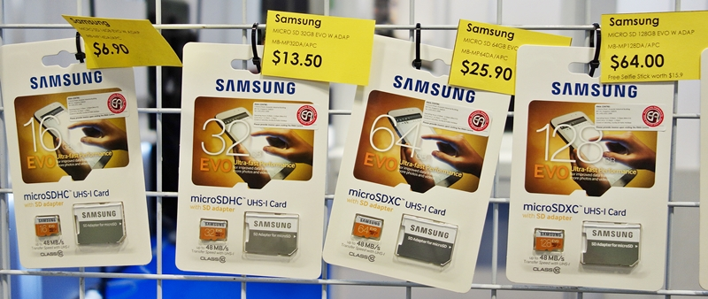 Priced from $6.90 to $64, the Samsung EVO microSD cards are easy on the pocket. Each card comes with a SD card adapter for more flexible usage.