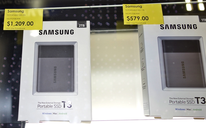 Looking for a portable SSD storage device, you may consider The Samsung Portable SSD T3 series are available in 250GB, 500GB, 1TB and 2TB capacities; they are priced at $199, $309, $579 and $1,209 respectively. Each purchase comes with a free Samsung power bank (worth $108).