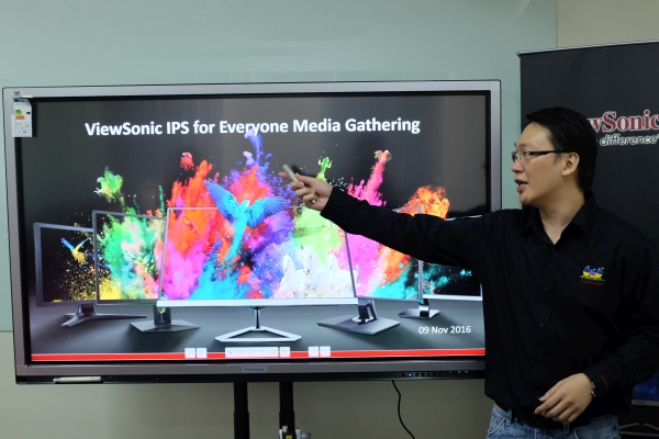 Chaw Foo Hong, Country Manager, ViewSonic Malaysia introducing the seven new IPS monitors that the company is bringing into the country.