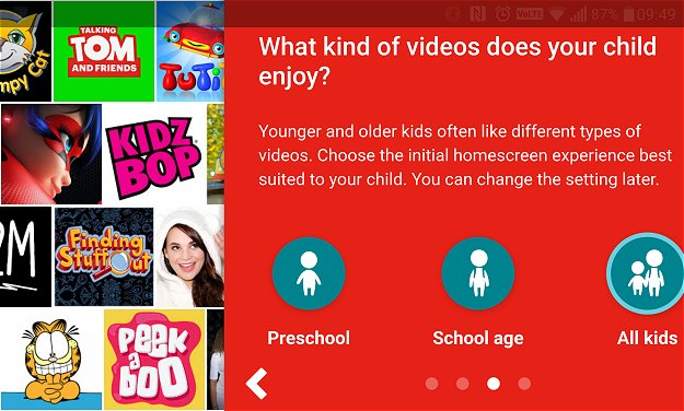 The YouTube Kids app caters to all young kids in general, but the setup process allows you to select pre-school and school-going age to showcase more useful content for your child. For example, I noticed the pre-school option exposes early learning programming and cartoons revolving grasping basic concepts.