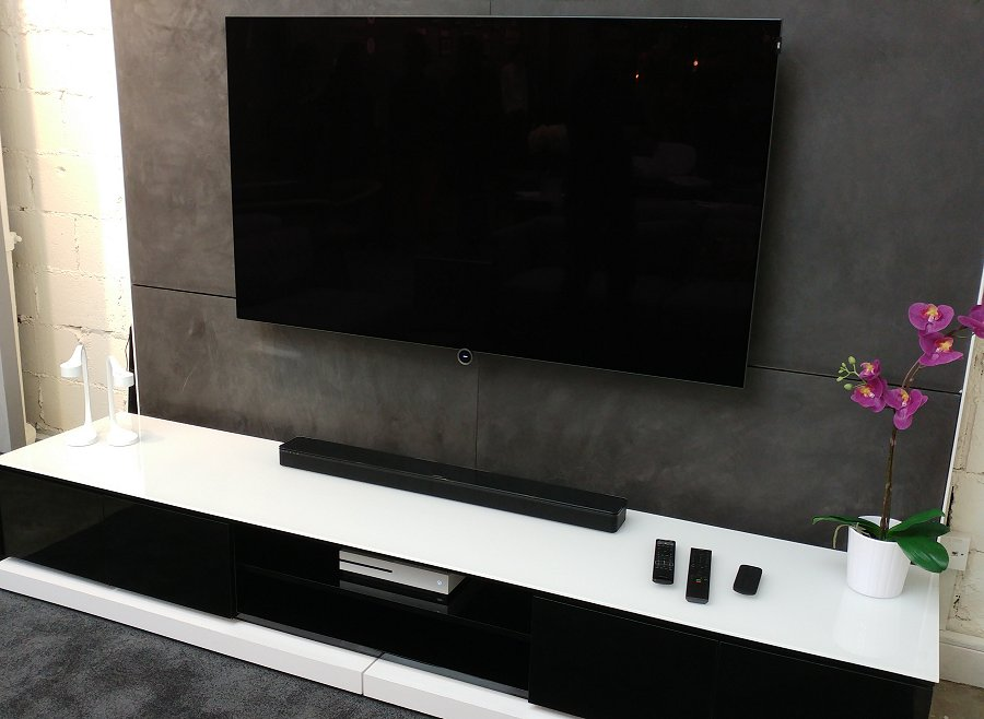 Check out how compact the sound bar is as the SoundTouch 300 is set against Loewe's new 65-inch OLED Blid 7 TV.