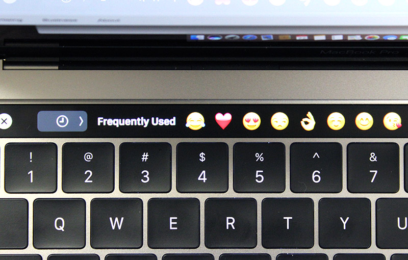 The Touch Bar gives quick access to emojis. Very useful for those who use messaging services often on their Macs.