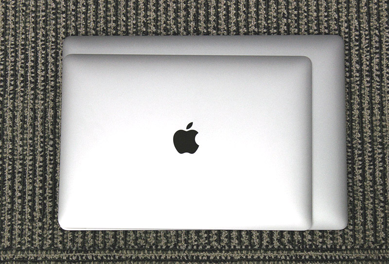 The 15-inch MacBook Pro is larger than the13-inch model, though not by very much.