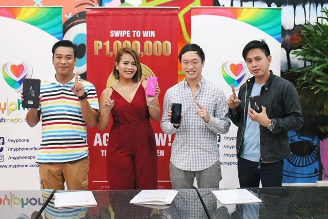 Freddie Bautista – Manager, DJ Chacha, Kevin Tan – MyPhone Vice President, Inyi Yruma – MyPhone Digital Marketing Head