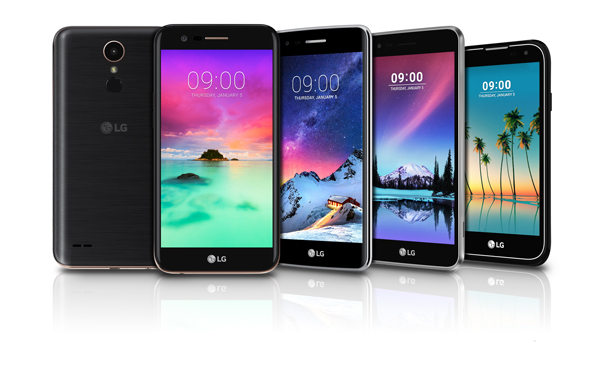 The upcoming K Series smartphones by LG will be on display at CES 2017. From Left to Right, K10 (rear, front), K8, K4 and K3.