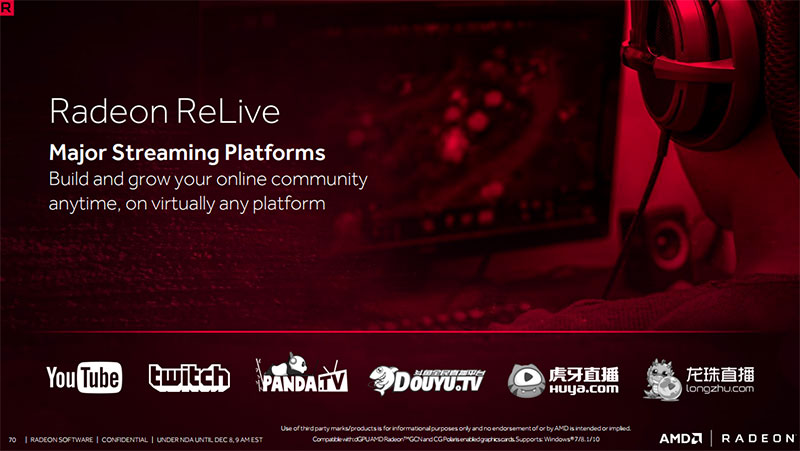 Radeon ReLive supports multiple major streaming platforms.