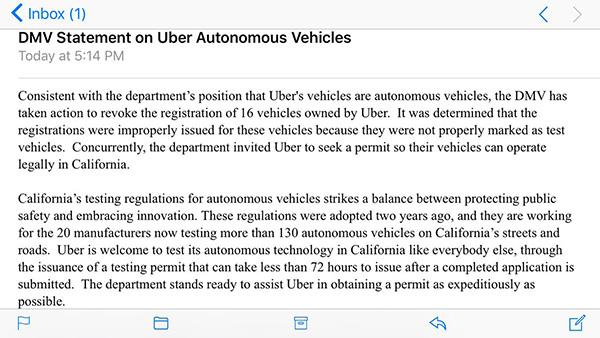 California DMV's statement on why they shut down Uber's testing.