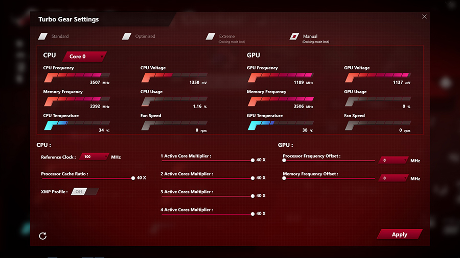 ASUS ROG Game Center overclocking