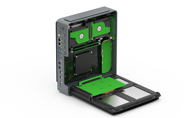 The side panel opens like a clamshell for easy access to the internal components. (Image Source: Compulab)