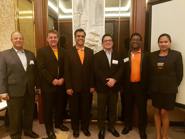 From L-R: Chris Mandahl, VP, Service & Project Management, Asia; Paul Churchill, VP, SEA; Anand Sanghi, President, Asia; Jason Lim, Country Manager, Philippines, Joe Thomas, Senior Manager, Channel Programs; and Katrina Tirante-Uy, Senior Marketing Manager, Asia, Vertiv.