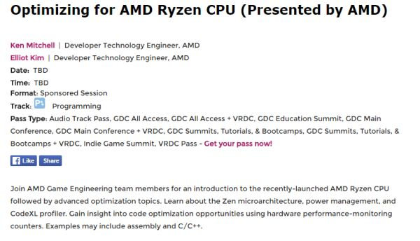 Someone in Anandtech had discovered that AMD would be holding a demonstration of their Ryzen at the GDC 2017. <br> Image source: WCCFTech.