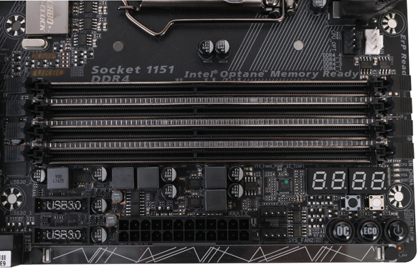 The Z270X-Gaming 9 has four DDR4 slots that can support frequencies of up to 4,000MHz, and capacities of up to 64GB.