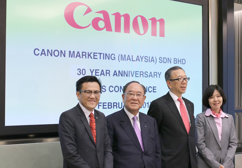 (From L-R): Andrew Koh, President and Chief Executive Officer of Canon Marketing (Malaysia) Sdn. Bhd.; Fujio Mitarai, Chairman and Chief Executive Officer, Canon Inc.; Hideki Ozawa, President and Chief Executive Officer, Canon Asia Marketing Group; and Noriko Gunji, President and Chief Executive Officer, Canon Singapore Pte. Ltd.