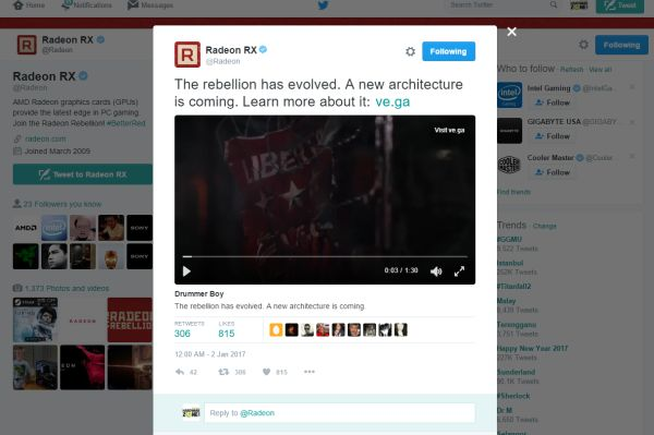 This tweet was posted via AMD's Radeon RX account just yesterday.