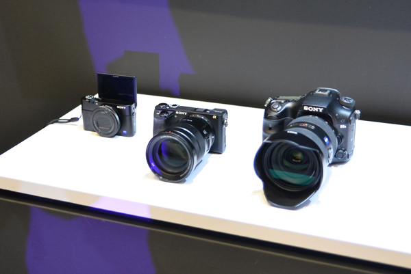 From L-R: The Sony Cyber-shot RX100 V, the Sony Alpha 6500, and the Sony Alpha 99 II.