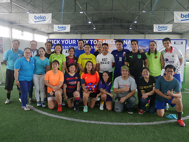 "Finalists for the ""Kick Your Way to Barcelona: The Beko Grand Kick-off Challenge"" with Beko Philippines executives."