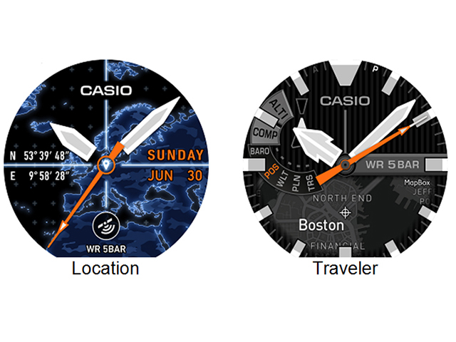 The Casio WSD-F20 has interchangeable original watch face designs which include Location and Traveler that utilize GPS functions and map data. In addition, the WSD-F20 also comes with other preinstalled watch face designs which can be added and downloaded from the Google Play Store.