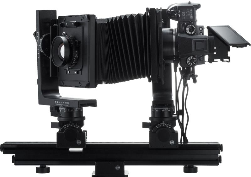 Use the adapter to turn the GFX 50S into a digital back for a view camera system.