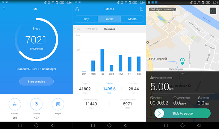 The Huawei Health application tracks and records user's steps, calories burned, and distance traveled.