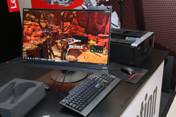 Surprisingly, Lenovo also had a VR workstation area set up at the event. This was the first time that we had seen a VR-based system on display by the company.