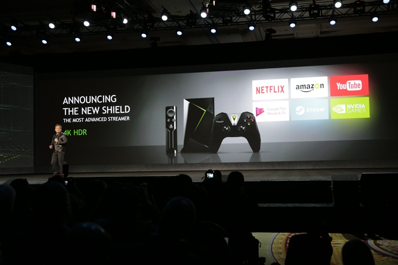 nvidia, geforce now, nvidia shield, jen-hsun huang, ces 2017, artificial intelligence, nvidia quadro, epic games, unreal engine 4, geforce gtx 1080, nvidia gameworks, google assistant, nvidia spot, amazon video, netflix, youtube, google play movies, vudu