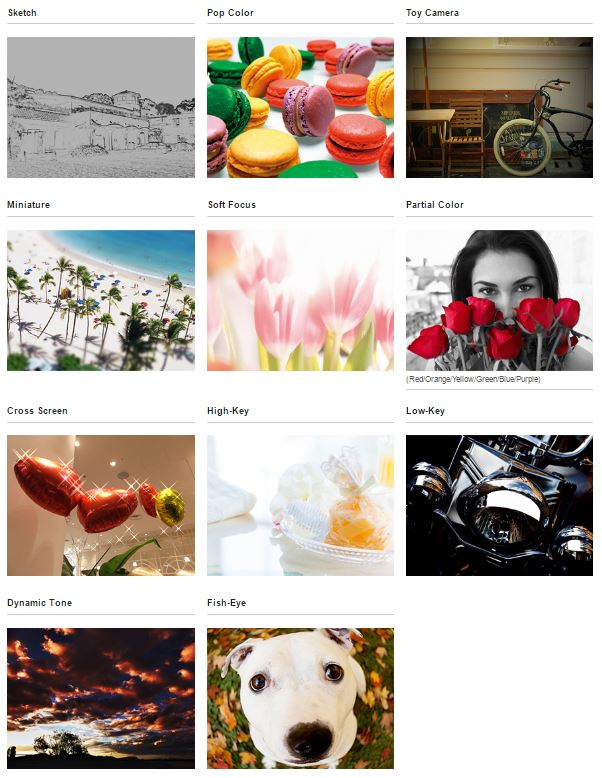 The full set of creative filters are available for easy picture effects.