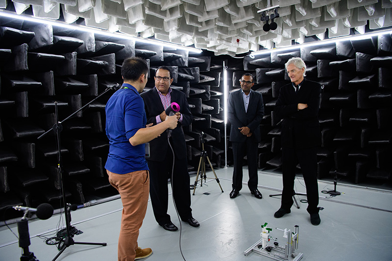 Minister for Trade and Industry, S. Iswaran (second from left) and Sir James Dyson (far right) were both present for the launch of the Technology Centre.