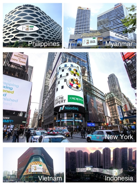 OPPO's large advertisement has also been displayed at SM Mall of Asia in Pasay City, as well as other landmark buildings in Indonesia, Myanmar, Vietnam, and Times Square in New York.