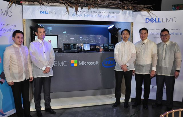 Chris Papa, Channels General Manager; Paul Henaghan, Vice President, South Asia and Korea, Dell EMC; Paulo del Rosario, Business Group Lead for Windows, Microsoft Philippines; Ronnie Latinazo, Country General Manager, Dell EMC Philippines; Martin Diez, Development Manager for Client Solutions, Dell EMC Philippines