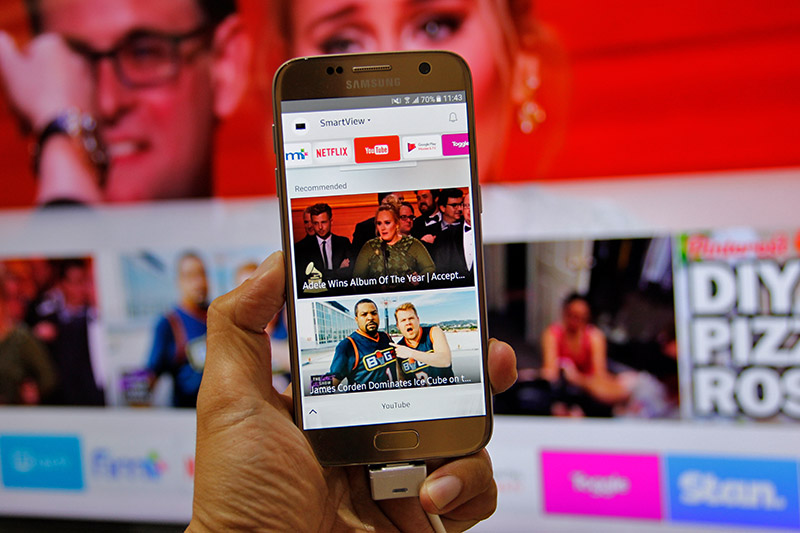 With the Smart View mobile app, the idea is that you don't need to put down your phone to pick up the remote just to select new stuff to watch.