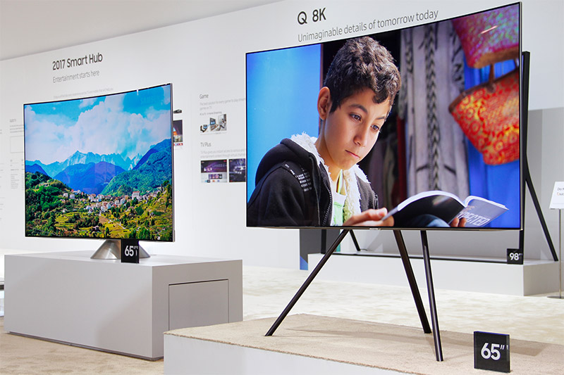 Don't like to hang your TV? There are two stands you can choose from: the Studio Stand (right) and the Gravity Stand (left).
